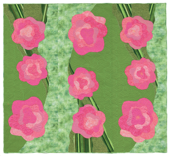 """Bull's Eye Roses"" designed and appliqued by Rose Hughes, quilted by me.  Photo by Bruce Kane, for Martingale"