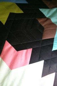For this quilt, I used the secondary shape of the hexies made between the stars as inspiration, and extended the lines of the star arms to create a plaid-like crosshatch. Each hexie shape was different, just as all the plaid lines were different.