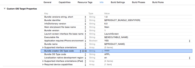 iOS App Xcode Info PLIST Bundle creator OS Type Code