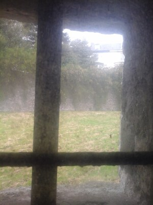 Looking through a murky window from the tunnel into the moat