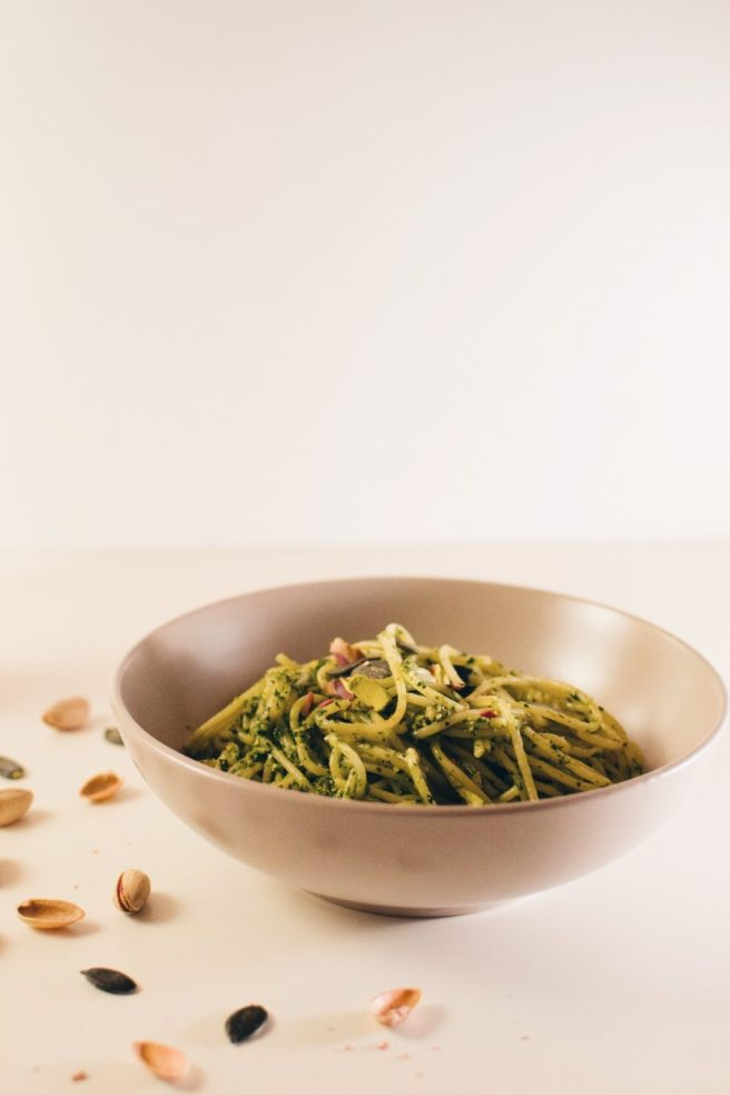 Spinach, mint and pesto pasta