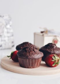 Double chocolate and rye muffins