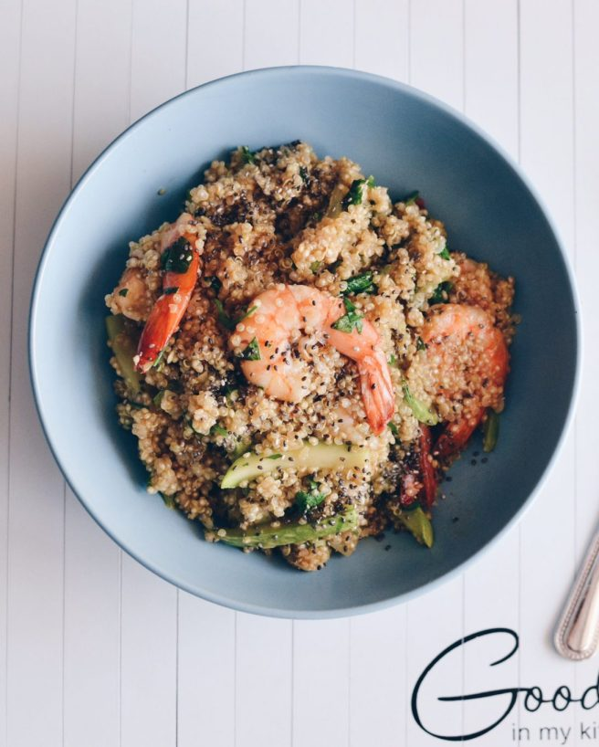 Quinoa with shrimps & zucchini