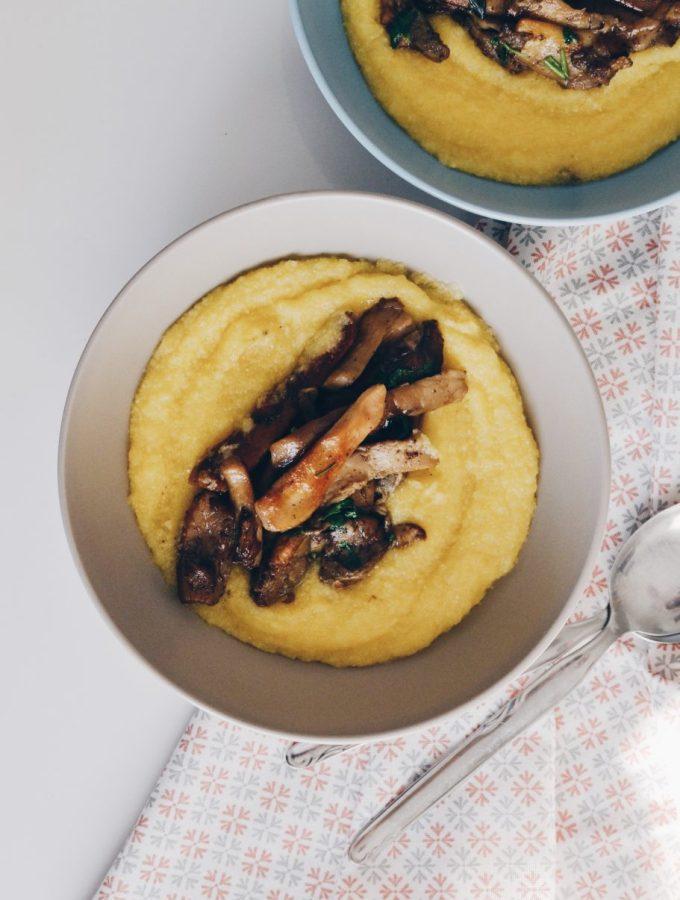 Creamy polenta with sautéed porcini