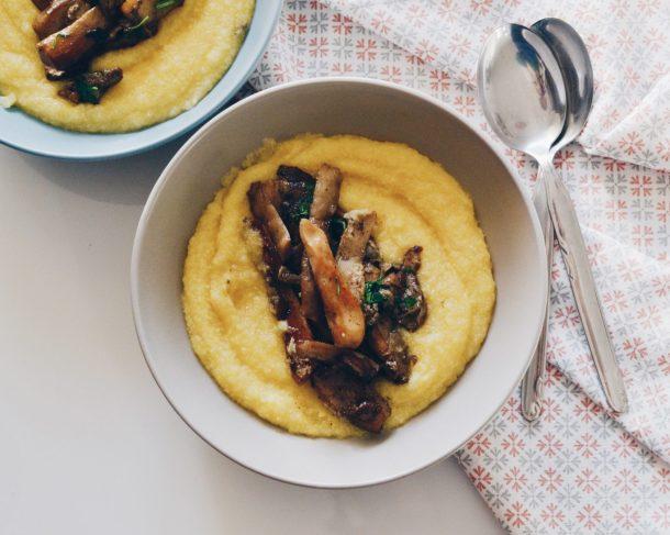 Creamy polenta and sauteed mushrooms