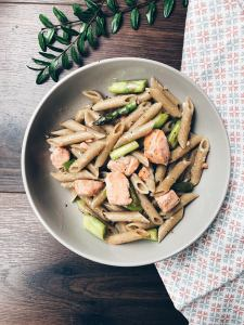 Asparagus & trout pasta