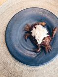 Boiled brown crab on flatbread