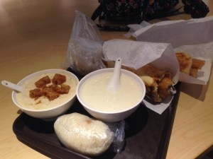 salty soy milk, sweet soy milk, thick shao bing Chinese donut wrap, rice tuan