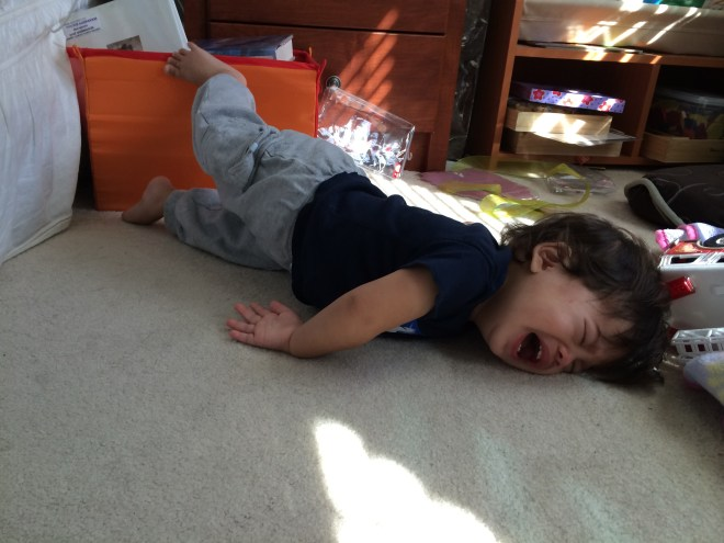 Glow Worm throwing himself to the floor.