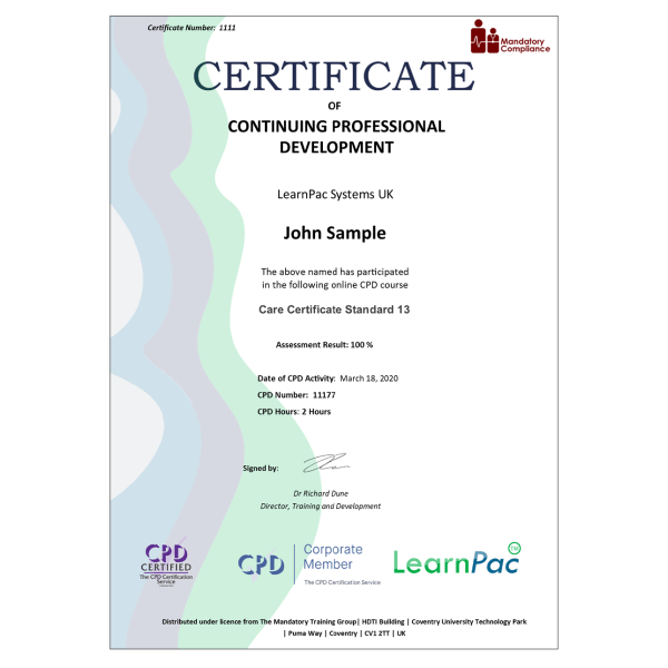 Care Certificate Standard 13 – eLearning Course – CPD Certified – Mandatory Compliance UK –