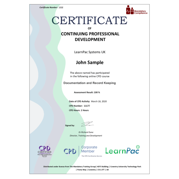 Documentation and Record Keeping – eLearning Course – CPD Certified – Mandatory Compliance UK –