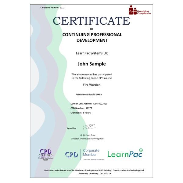 Fire Warden – eLearning Course – CPD Certified – Mandatory Compliance UK –