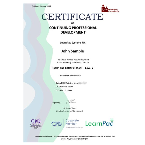 Health and Safety at Work – Level 2 – eLearning Course – CPD Certified – Mandatory Compliance UK –