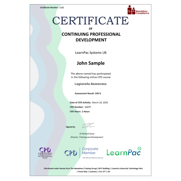 Legionella Awareness – eLearning Course – CPD Certified – Mandatory Compliance UK –