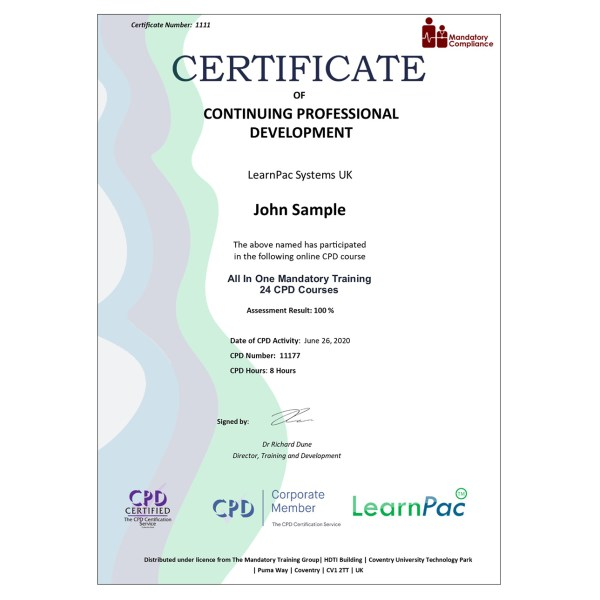 All In One Mandatory Training – 24 CPD Courses – E-Learning Course – CDPUK Accredited – Mandatory Compliance UK –