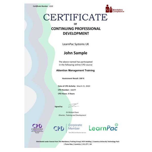 Attention Management Training – eLearning Course – CPD Certified – Mandatory Compliance UK –