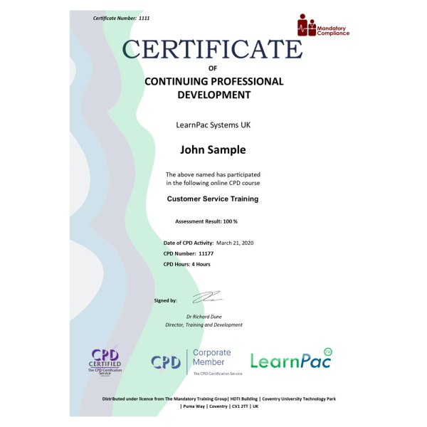 Customer Service Training – eLearning Course – CPD Certified – Mandatory Compliance UK –