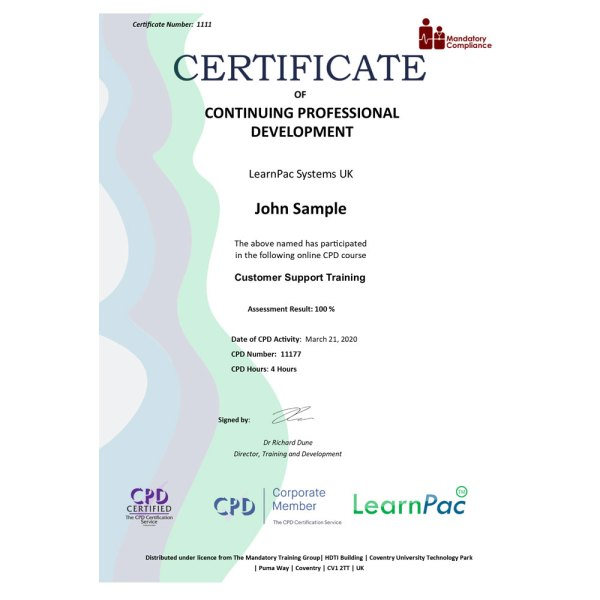 Customer Support Training – eLearning Course – CPD Certified – Mandatory Compliance UK –