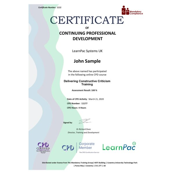 Delivering Constructive Criticism Training – eLearning Course – CPD Certified – Mandatory Compliance UK –