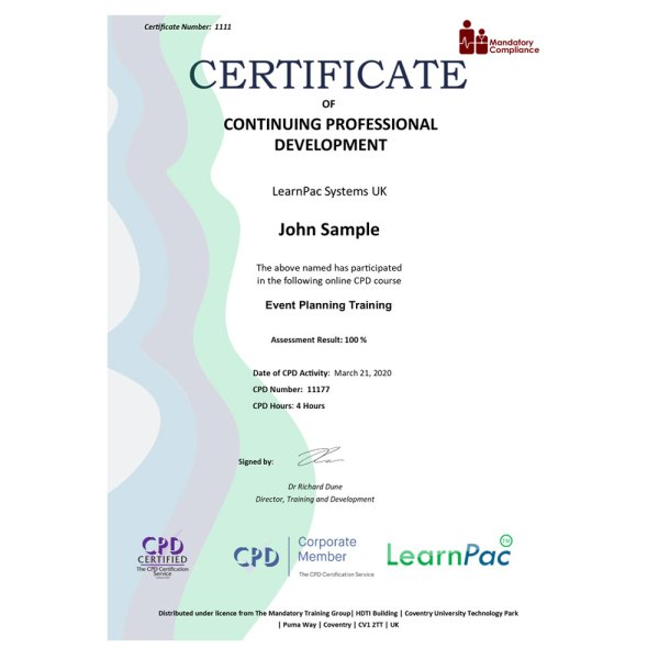 Event Planning Training – eLearning Course – CPD Certified – Mandatory Compliance UK –