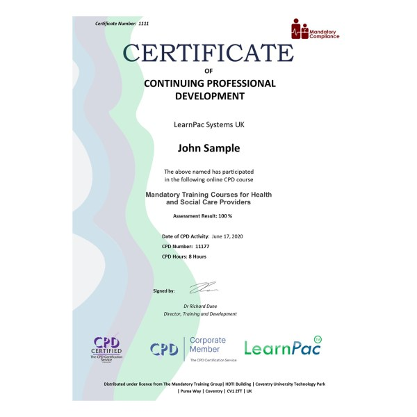 Mandatory Training Courses for Health and Social Care Providers – eLearning Course – CPD Certified – Mandatory Compliance UK –