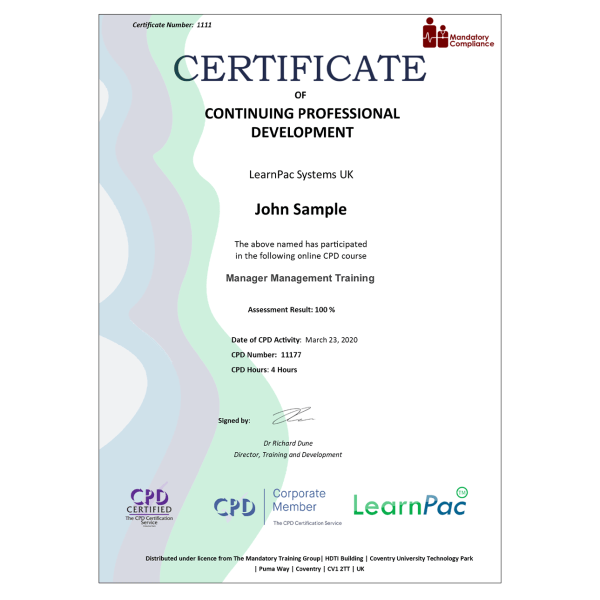 Manager Management Training – eLearning Course – CPD Certified – Mandatory Compliance UK –
