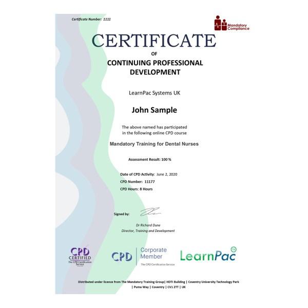 Mandatory Training for Dental Nurses – eLearning Course – CPD Certified – Mandatory Compliance UK –