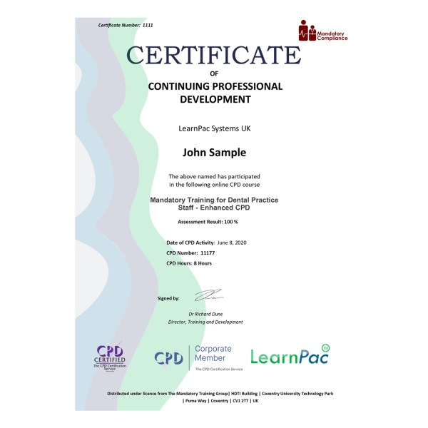 Mandatory Training for Dental Practice Staff – Enhanced CPD – eLearning Course – CPD Certified – Mandatory Compliance UK –