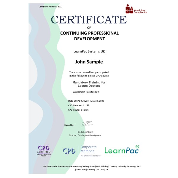 Mandatory Training for Locum Doctors – eLearning Course – CPD Certified – Mandatory Compliance UK –