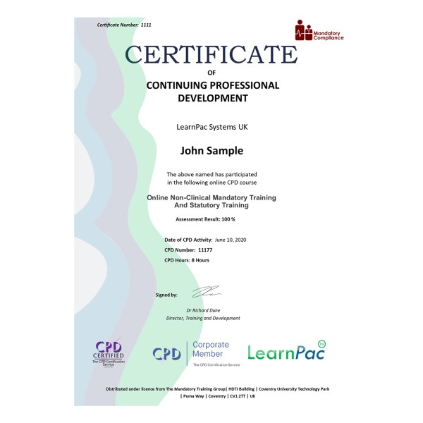 Online Non-Clinical Mandatory Training and Statutory Training – eLearning Course – CPD Certified – Mandatory Compliance UK –