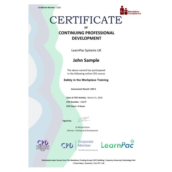 Safety in the Workplace – eLearning Course – CPD Certified – Mandatory Compliance UK –