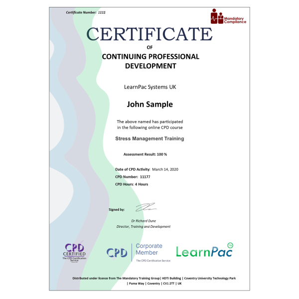 Stress Management Training – eLearning Course – CPD Certified – Mandatory Compliance UK –