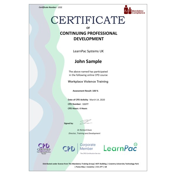 Workplace Violence Training – eLearning Course – CPD Certified – Mandatory Compliance UK –