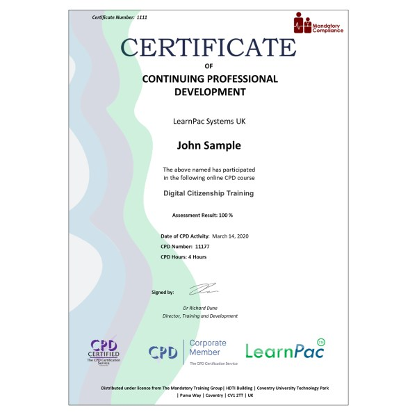 Digital Citizenship Training – eLearning Course – CPD Certified – Mandatory Compliance UK –