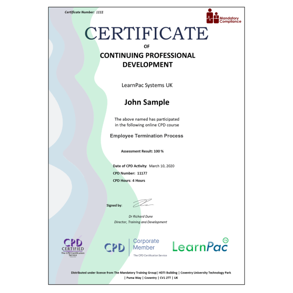 Employee Termination Process – eLearning Course – CPD Certified – Mandatory Compliance UK –