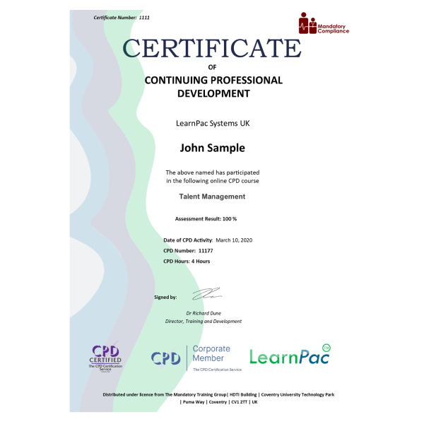 Talent Management – eLearning Course – CPD Certified – Mandatory Compliance UK –