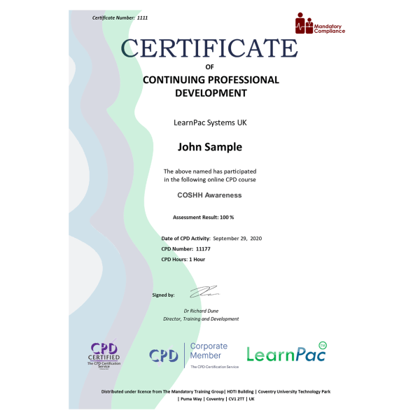 COSHH Awareness – eLearning Course – CPD Certified – Mandatory-Compliance UK –
