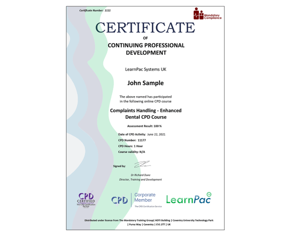 Complaints Handling – Enhanced Dental CPD Course – eLearning Course – CPD Certified – Mandatory Compliance UK –