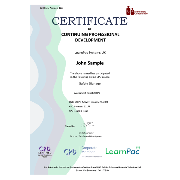 Safety Signage – eLearning Course – CPD Certified – Mandatory-Compliance UK –