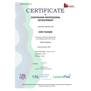 Safety Signage - eLearning Course - CPD Certified - Mandatory-Compliance UK -