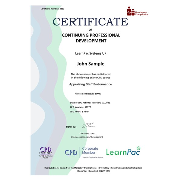 Appraising Staff Performance – eLearning Course – CPD Certified – Mandatory Compliance UK –