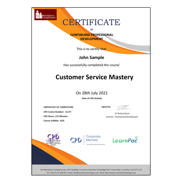 Customer Service Mastery – Online Learning Courses – E-Learning Courses – Mandatory Compliance UK