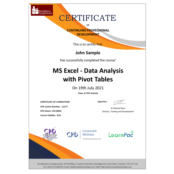 MS Excel – Data Analysis with Pivot Tables – eLearning Course – CPD Certified – Mandatory-Compliance UK –