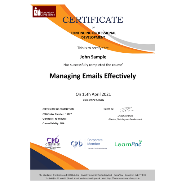 Managing Emails Effectively – eLearning Course – CPD Certified – Mandatory-Compliance UK –