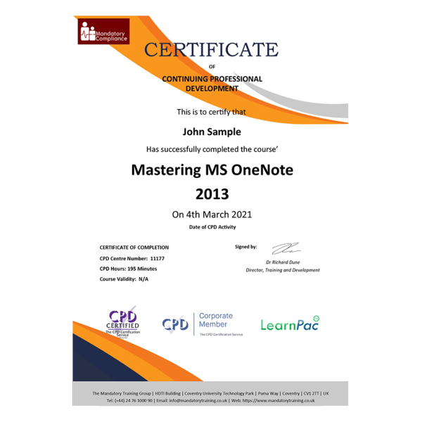 Mastering MS OneNote 2013 – eLearning Course – CPD Certified – Mandatory Compliance UK 1-