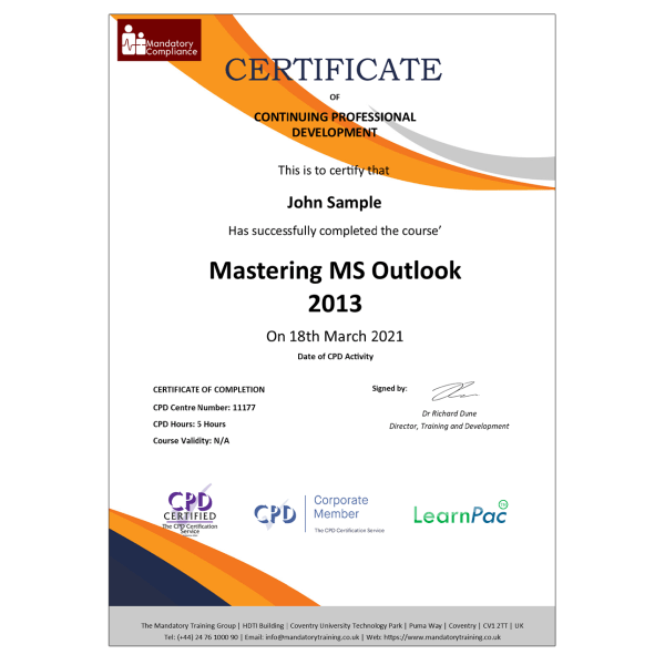 Mastering MS Outlook 2013 – eLearning Course – CPD Certified – Mandatory Compliance UK –