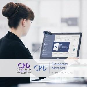 Mastering MS Word 2016 - Online Training Course - The Mandatory Training Group UK -