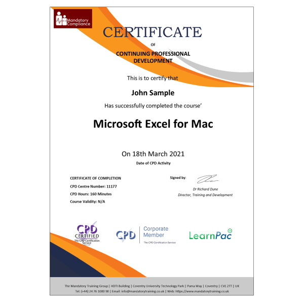 Microsoft Excel for Mac – eLearning Course – CPD Certified – Mandatory Compliance UK –