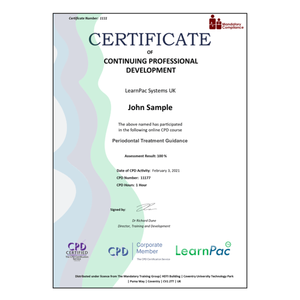 Periodontal Treatment Guidance – eLearning Course – CPD Certified – Mandatory Compliance UK –