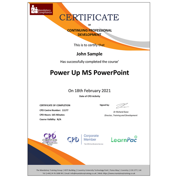 Power Up MS PowerPoint – Online Course – CPDUK Accredited – Mandatory Compliance UK –